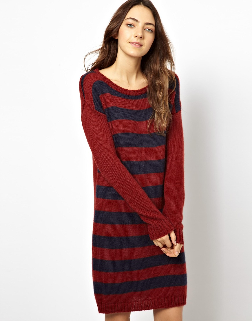 0b0b17e38b Lyst - Ultimo Esprit Oversized Stripe Sweater Dress in Red