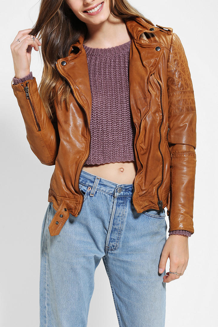 Urban outfitters Muubaa Nido Quilted Leather Moto Jacket in Brown