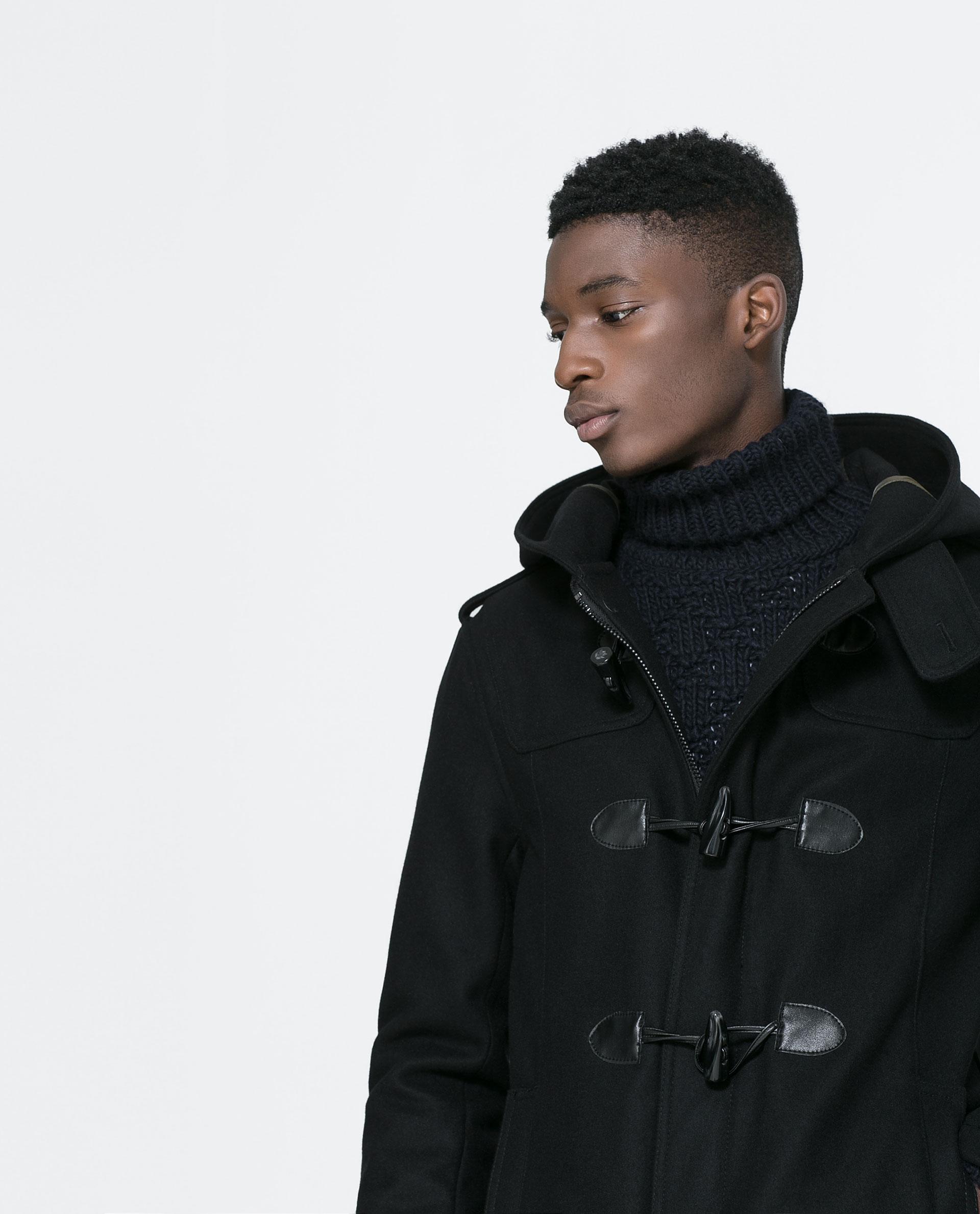 zara basic black duffle coat in black for men lyst. Black Bedroom Furniture Sets. Home Design Ideas
