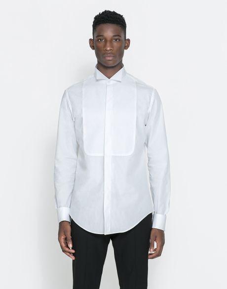 Zara Tuxedo Collar Shirt with Double Cuff in White for Men ...