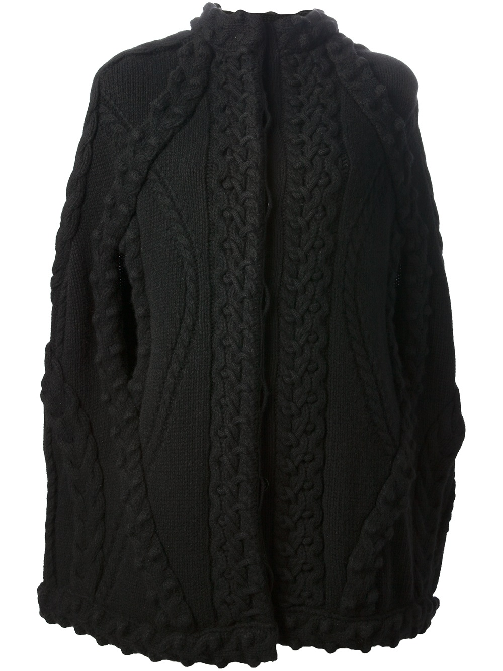 Knitting Pattern Chunky Cape : Alexander Mcqueen Chunky Cable Knit Cape in Black Lyst