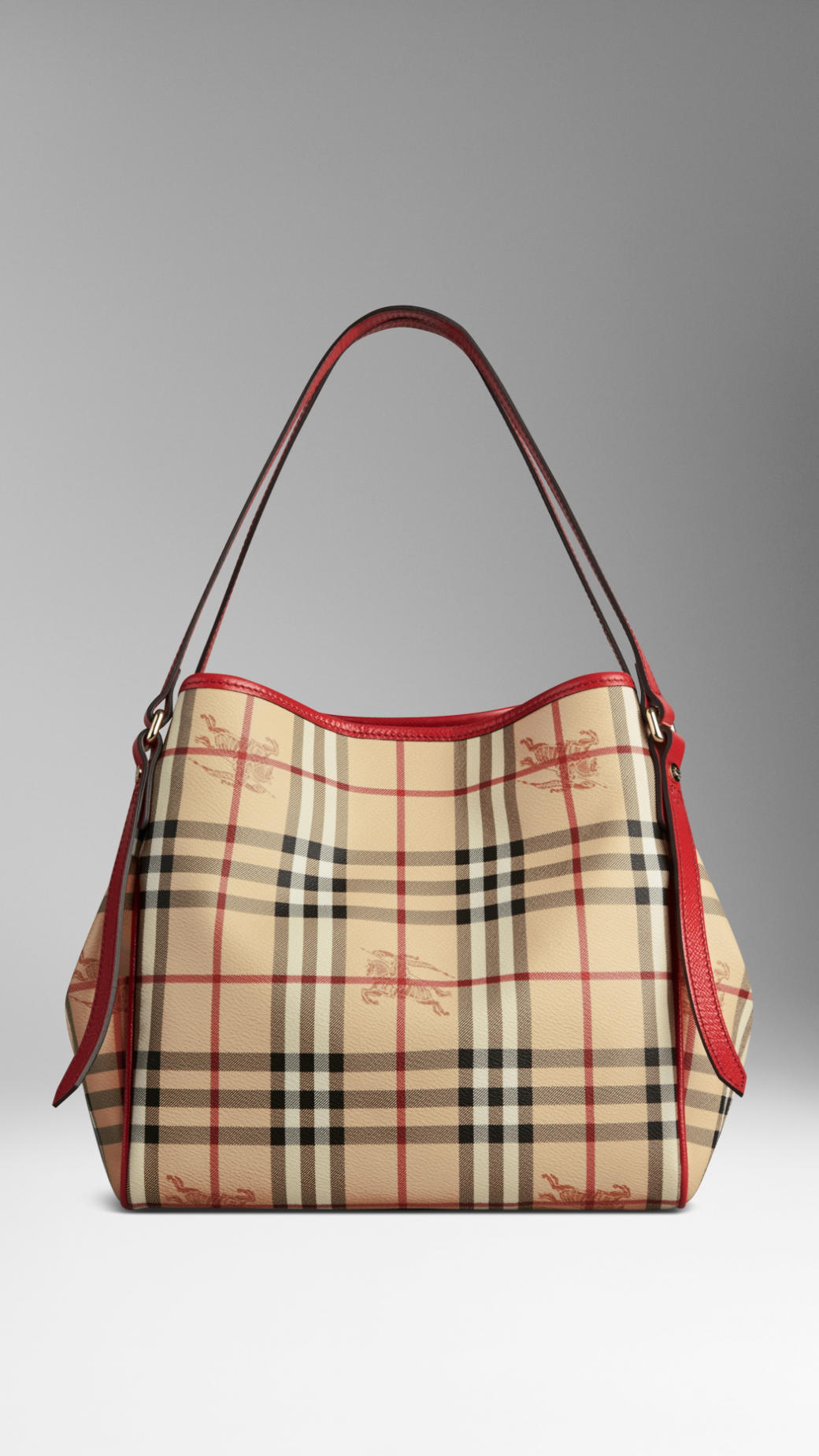 088cff8c6e88 Lyst - Burberry Small Haymarket Check Patent Trim Tote Bag in Red