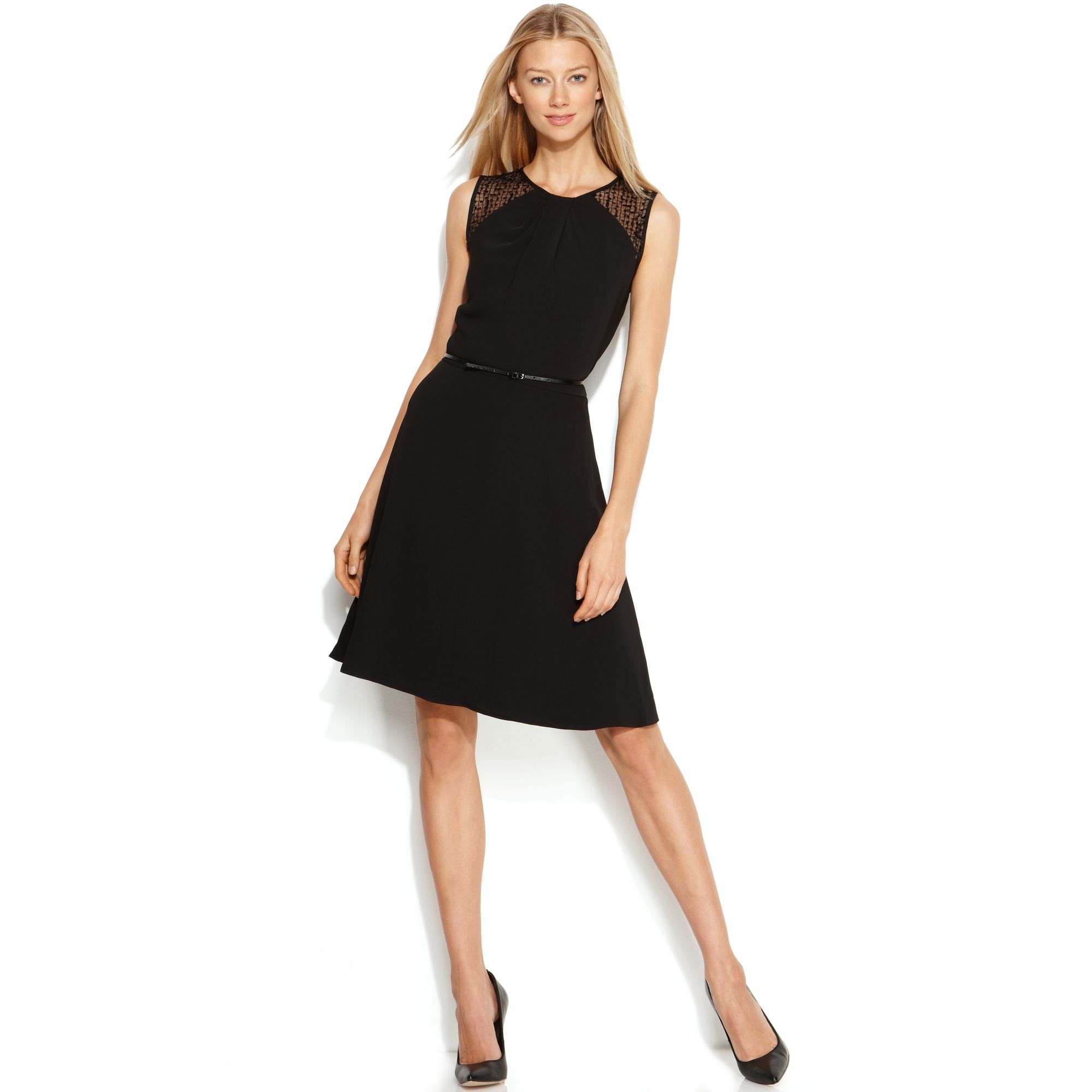 calvin klein belted illusion a line dress in black lyst