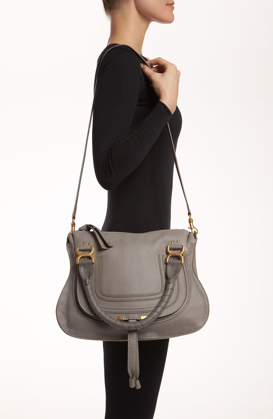where to buy chloe bags - Chlo�� 'marcie - Small' Leather Satchel in Gray (Cashmere Grey) | Lyst