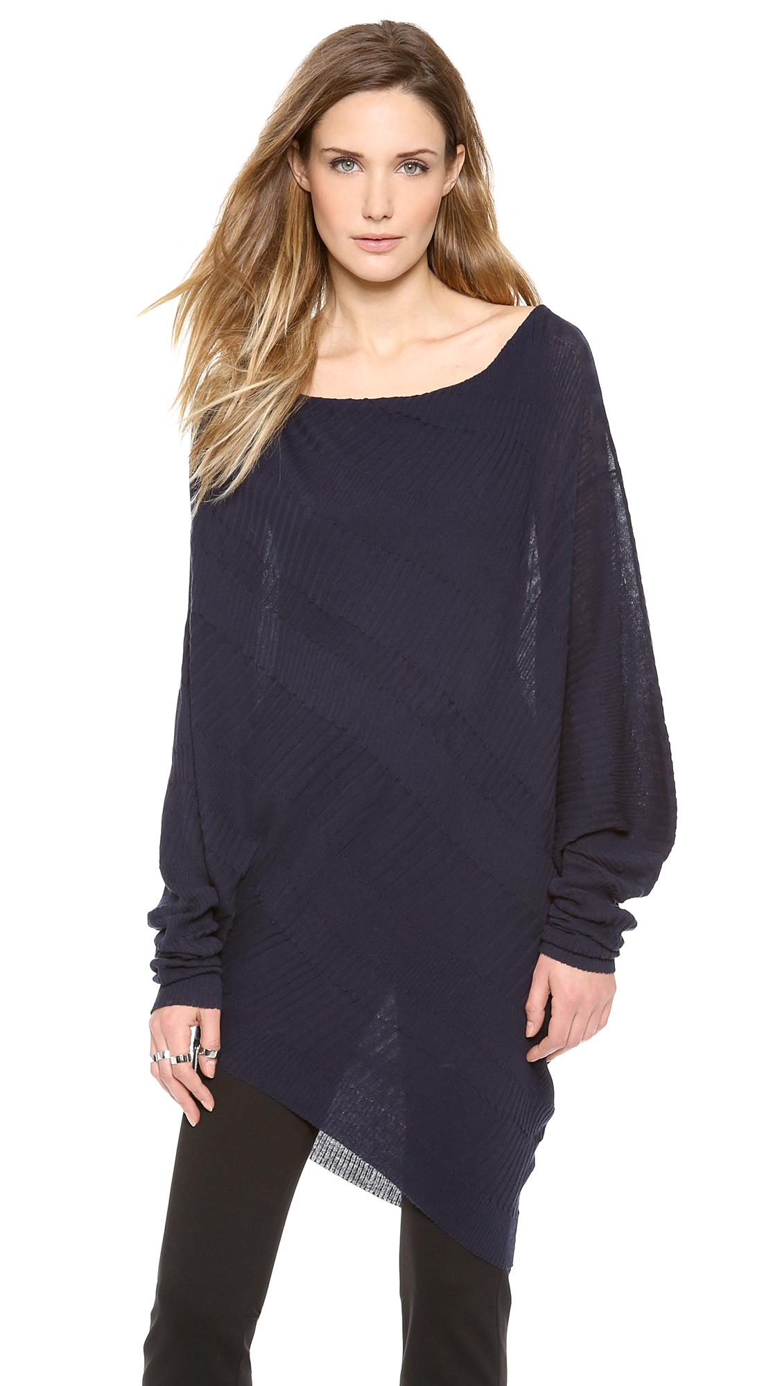 Donna karan new york long sleeve asymmetrical top in blue for Donna karen new york