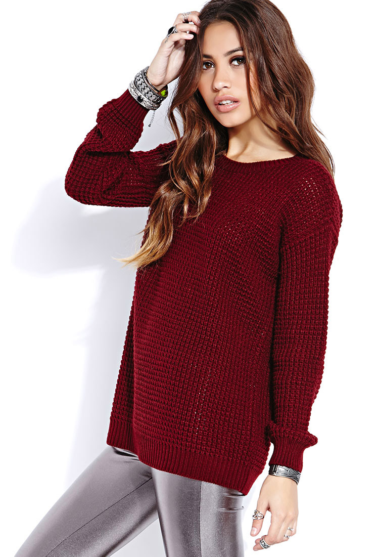 Lyst Forever 21 Favorite Waffle Knit Sweater In Red