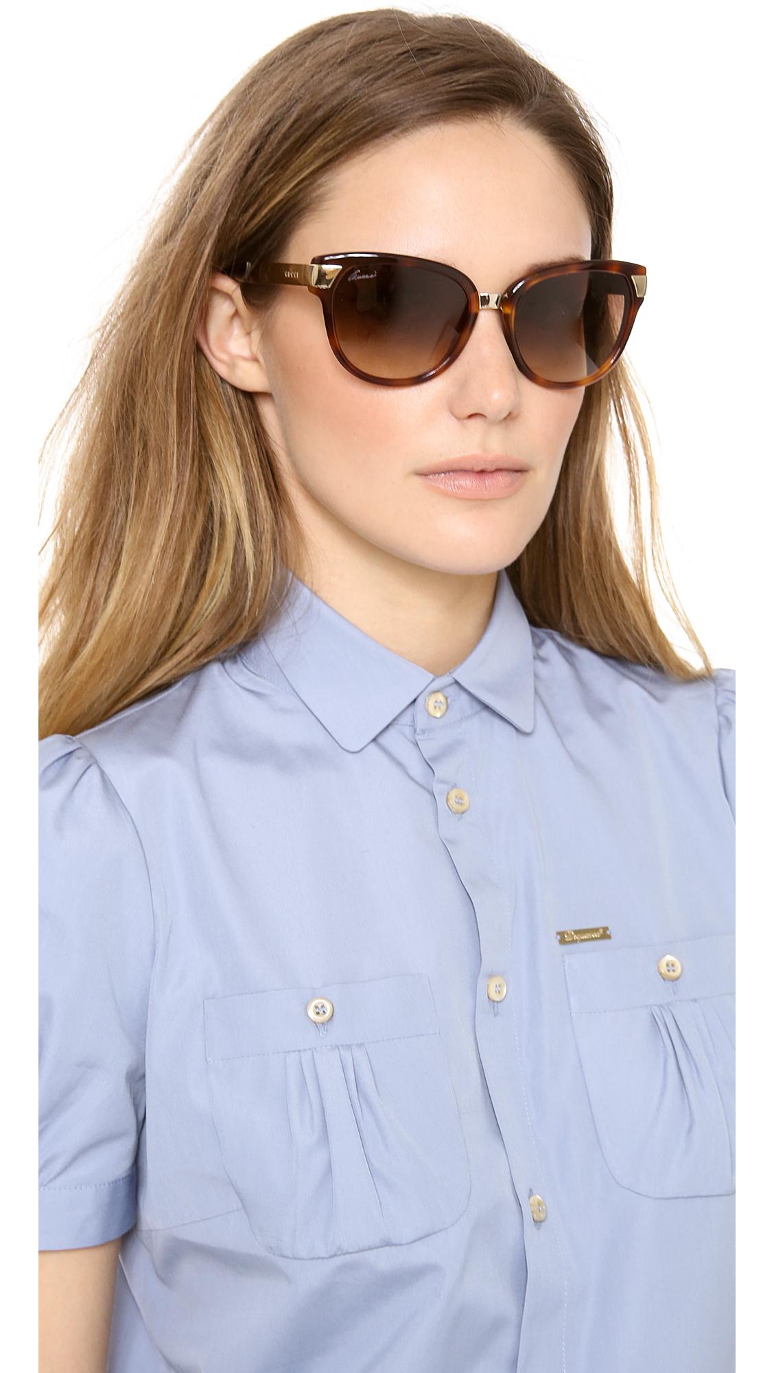 a7ede97fafa Lyst - Gucci Cat Eye Sunglasses Blackgreen Gradient in Brown