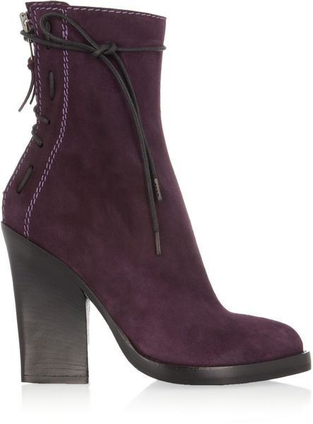 Haider Ackermann Laceup Suede Ankle Boots in Purple (violet)
