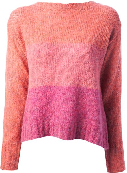 hoss intropia colour block sweater in pink pink purple lyst. Black Bedroom Furniture Sets. Home Design Ideas