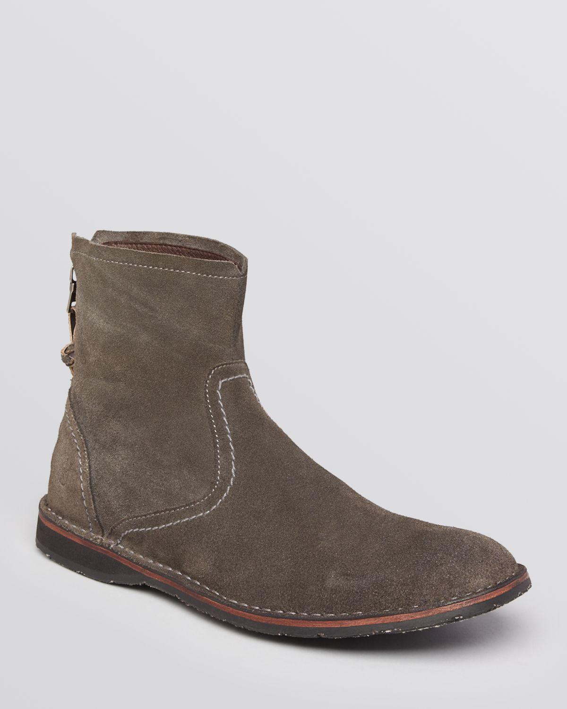 lyst john varvatos hipster back zip boots in natural for men