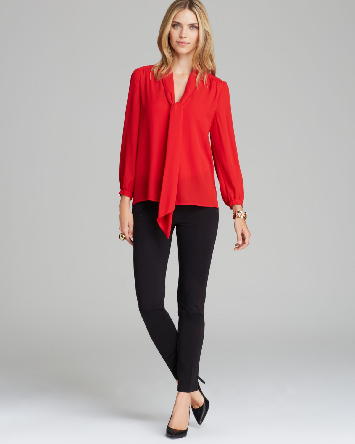 couture blouse neck tie in lyst