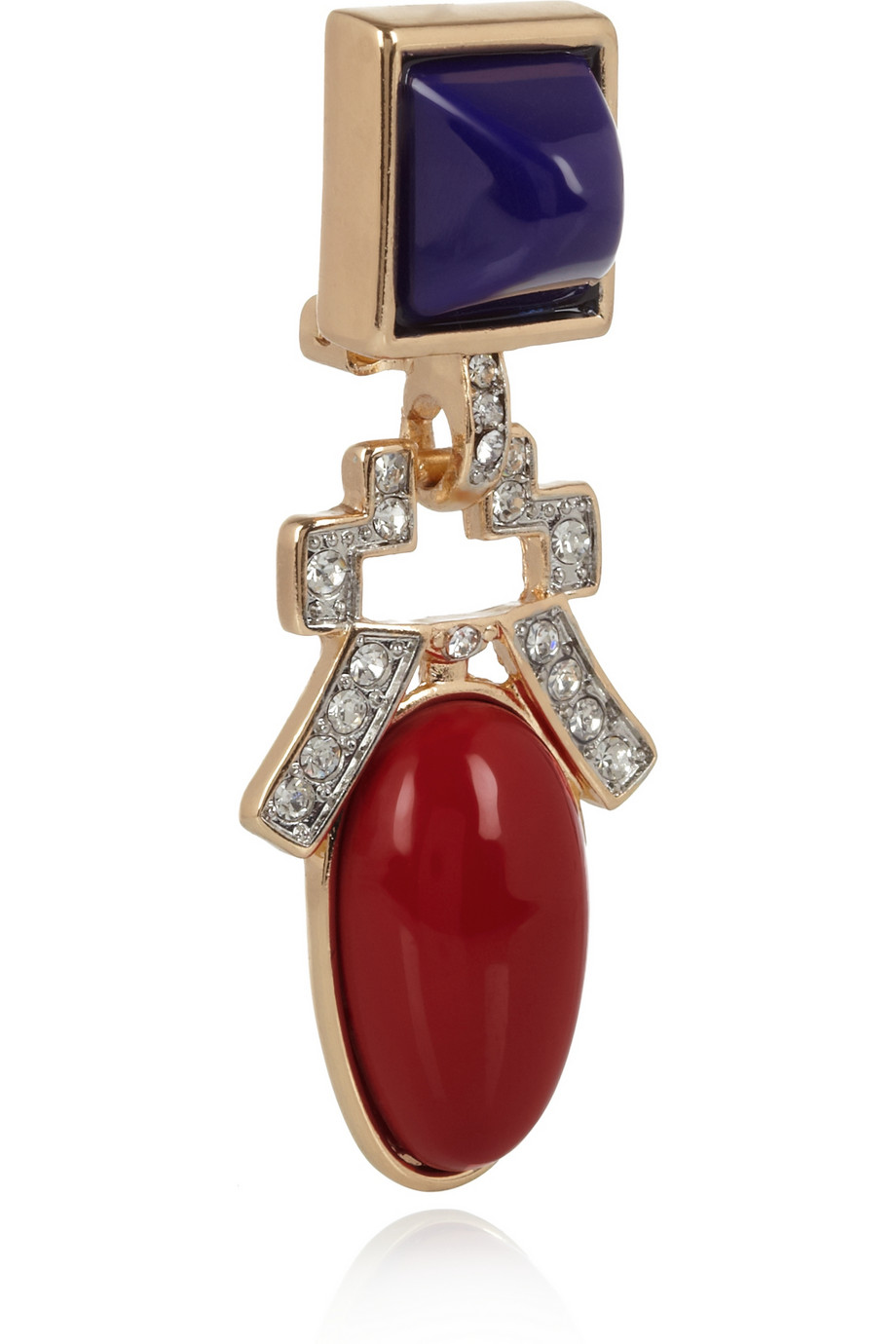 Lyst Kenneth Jay Lane Goldplated Resin And Crystal Clip