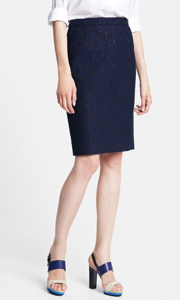 lanvin floral lace pencil skirt in blue navy blue lyst