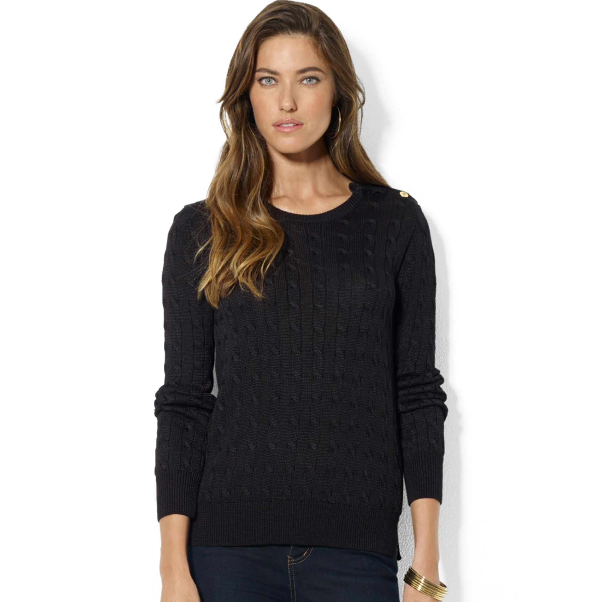 Lauren by ralph lauren Long Sleeve Cable Knit Crew Neck Sweater in ...