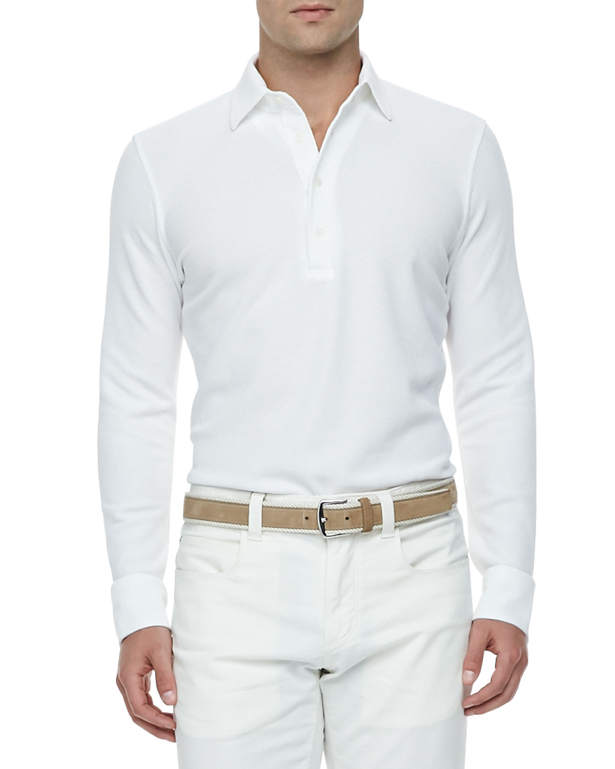 Loro piana Huck-Lace-Cotton Long-Sleeve Polo in White for Men | Lyst
