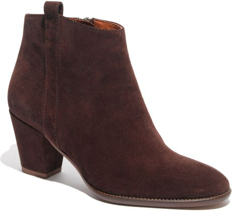 madewell the billie boot in suede in brown vintage stout