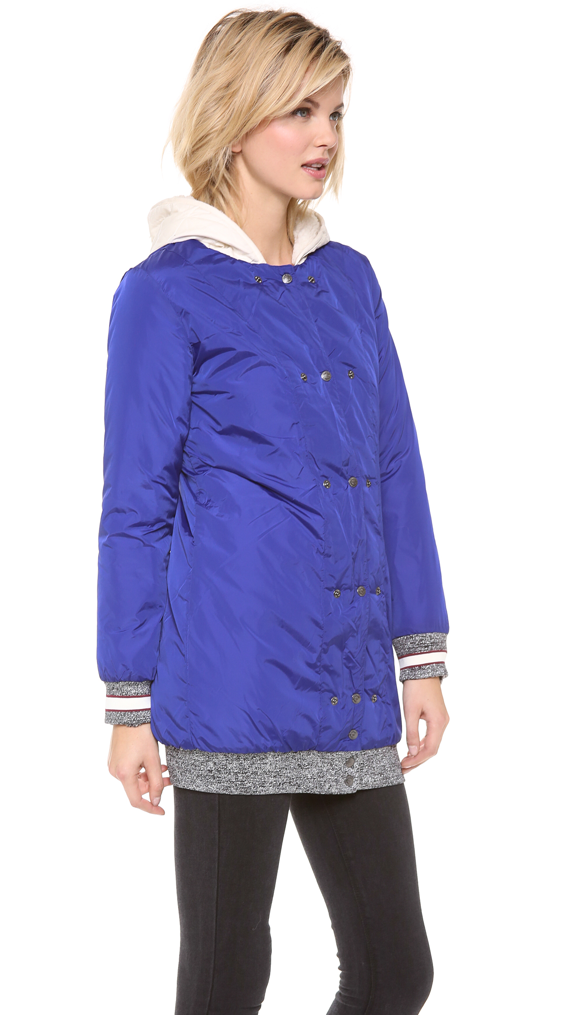 lyst maison scotch parka with removable inner layer in blue. Black Bedroom Furniture Sets. Home Design Ideas