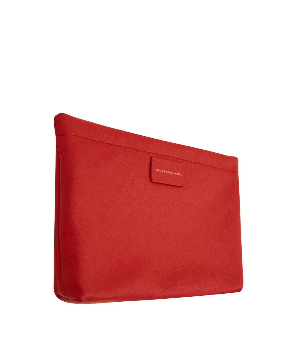 Marc by marc jacobs Large Red Eastwest Leather Clutch Bag in Red ...
