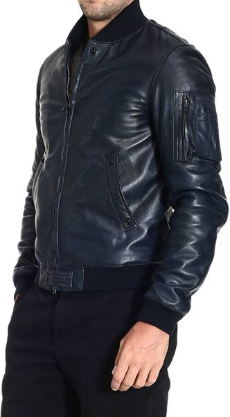 Mauro Grifoni Down Jacket Padded Leather Jacket In Blue