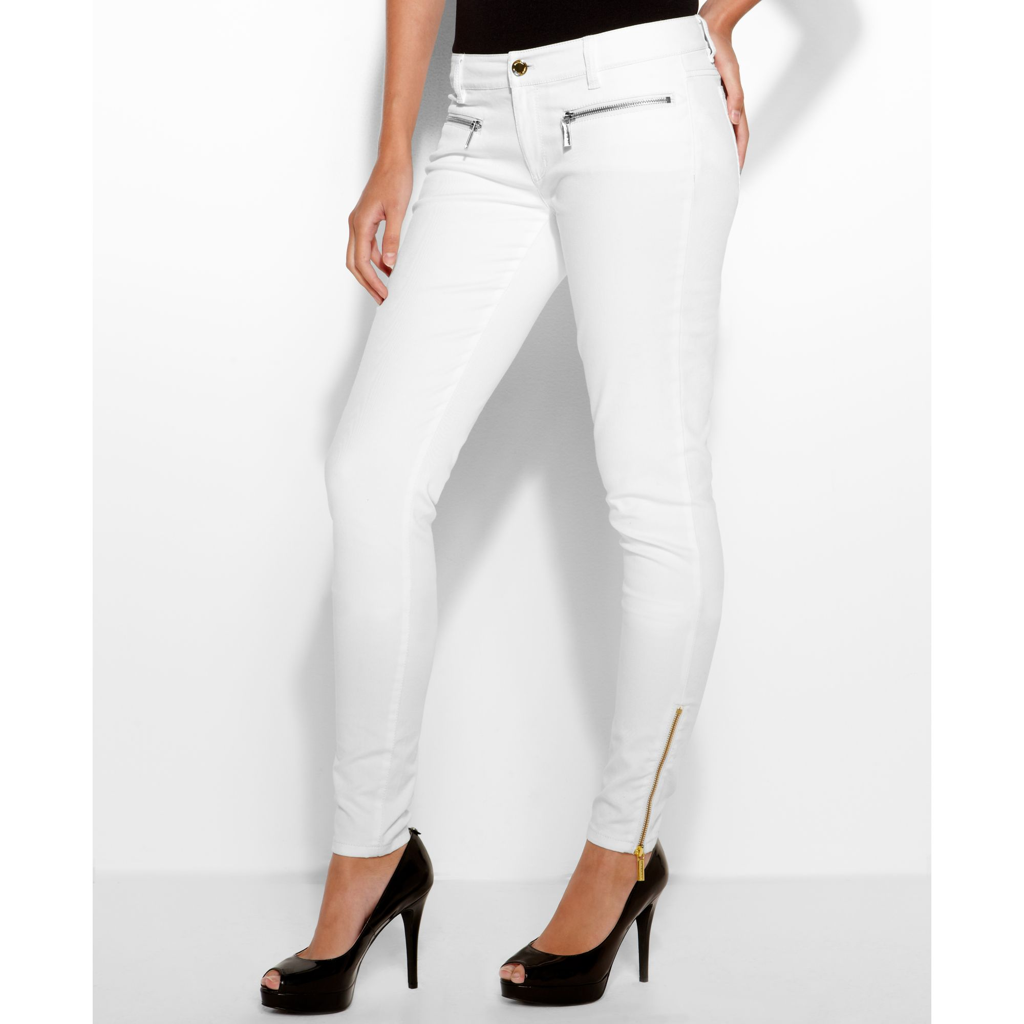 Michael kors Colored Wash Zipper Skinny Jeans in White | Lyst