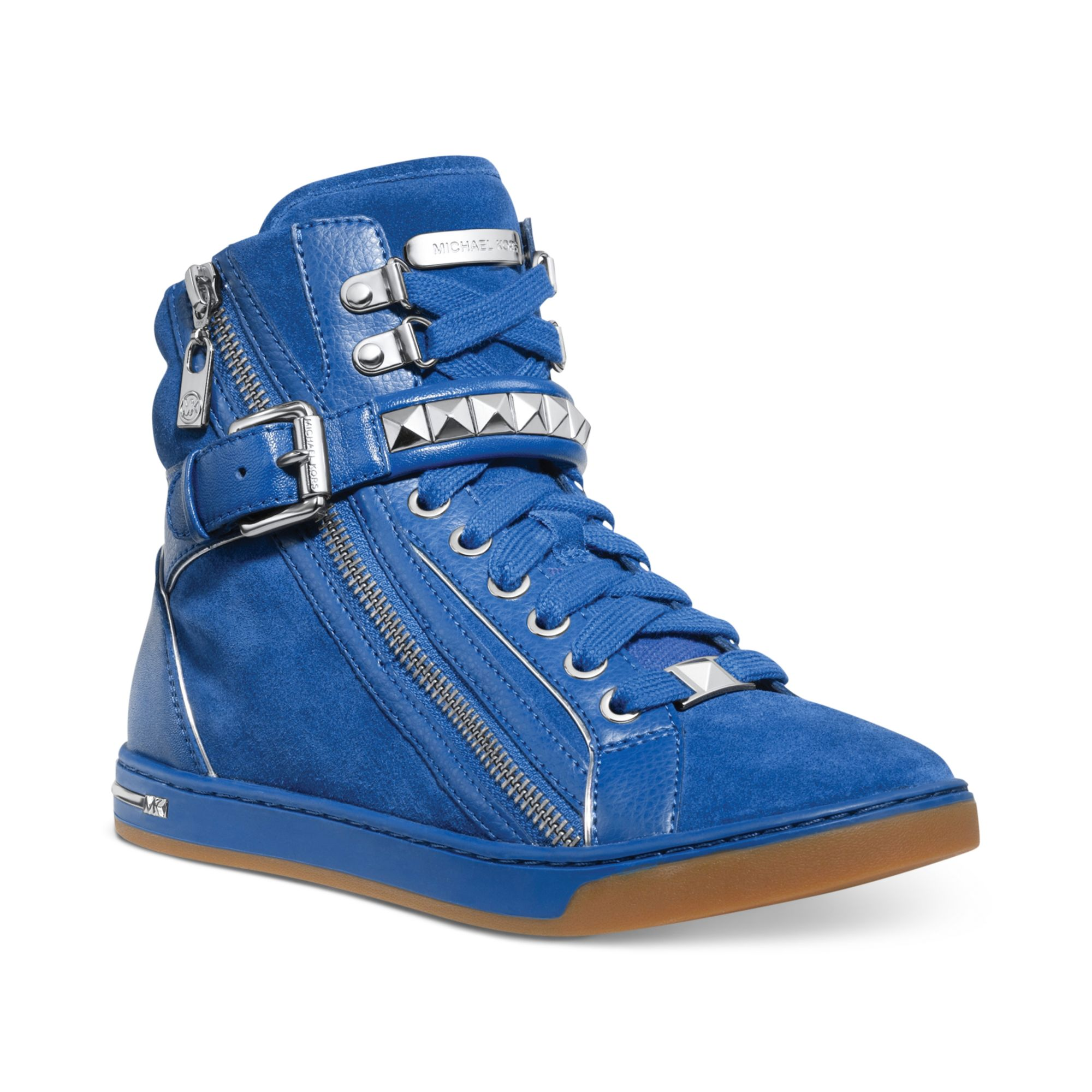 michael kors michael glam studded high top sneakers in blue lyst. Black Bedroom Furniture Sets. Home Design Ideas