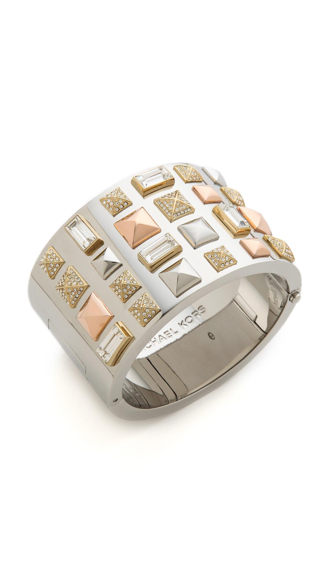 c5594f0f7 Michael Kors Tri Tone Pyramid Stud Bracelet in Metallic - Lyst