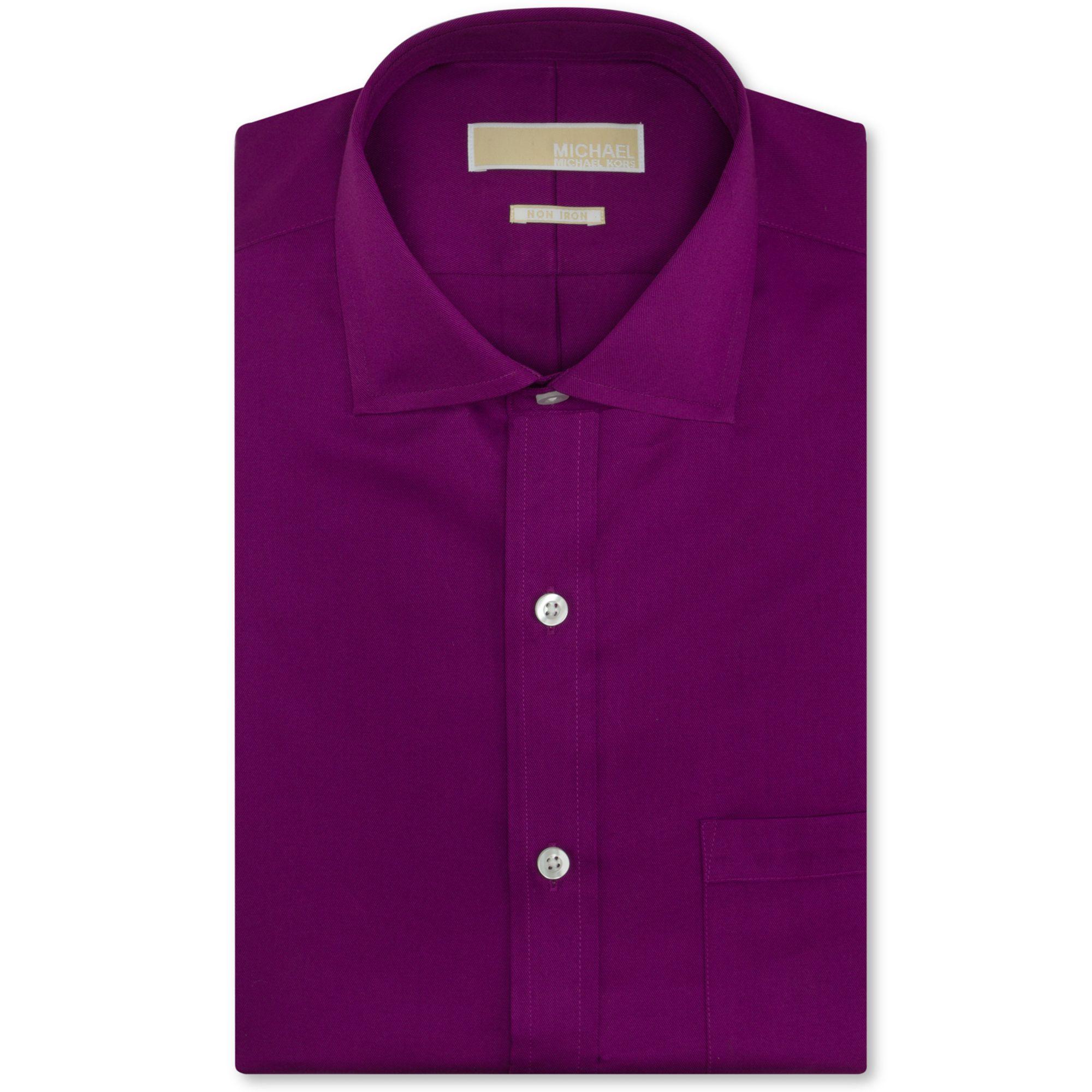 Lyst Michael Kors Michael Noniron Violet Solid Dress Shirt In