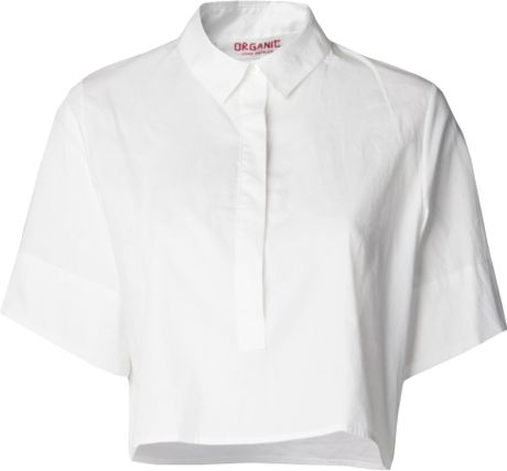 Organic by john patrick cropped button down shirt in white for Cropped white collared shirt