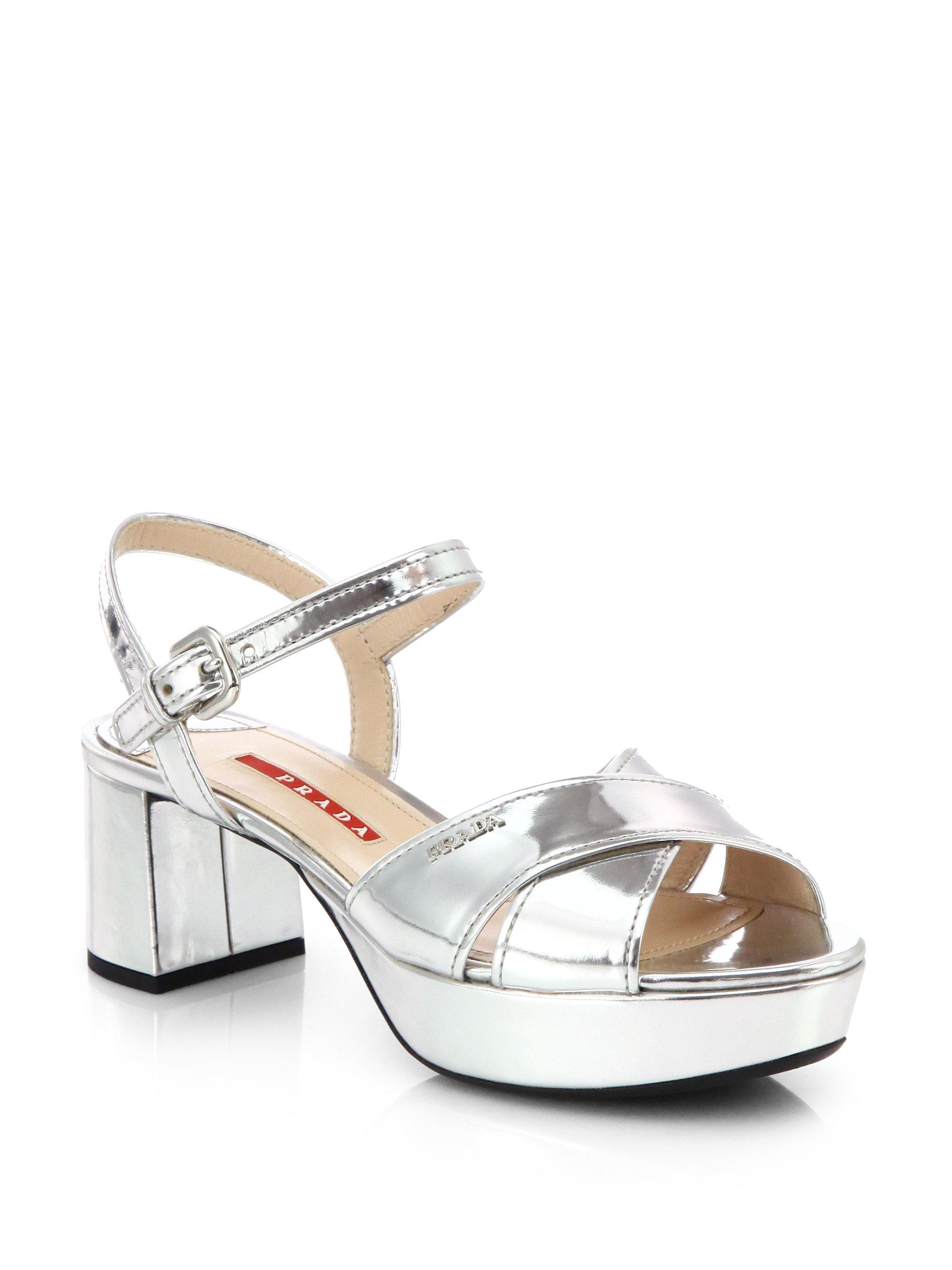 Lyst Prada Patent Leather Crisscross Platform Sandals In