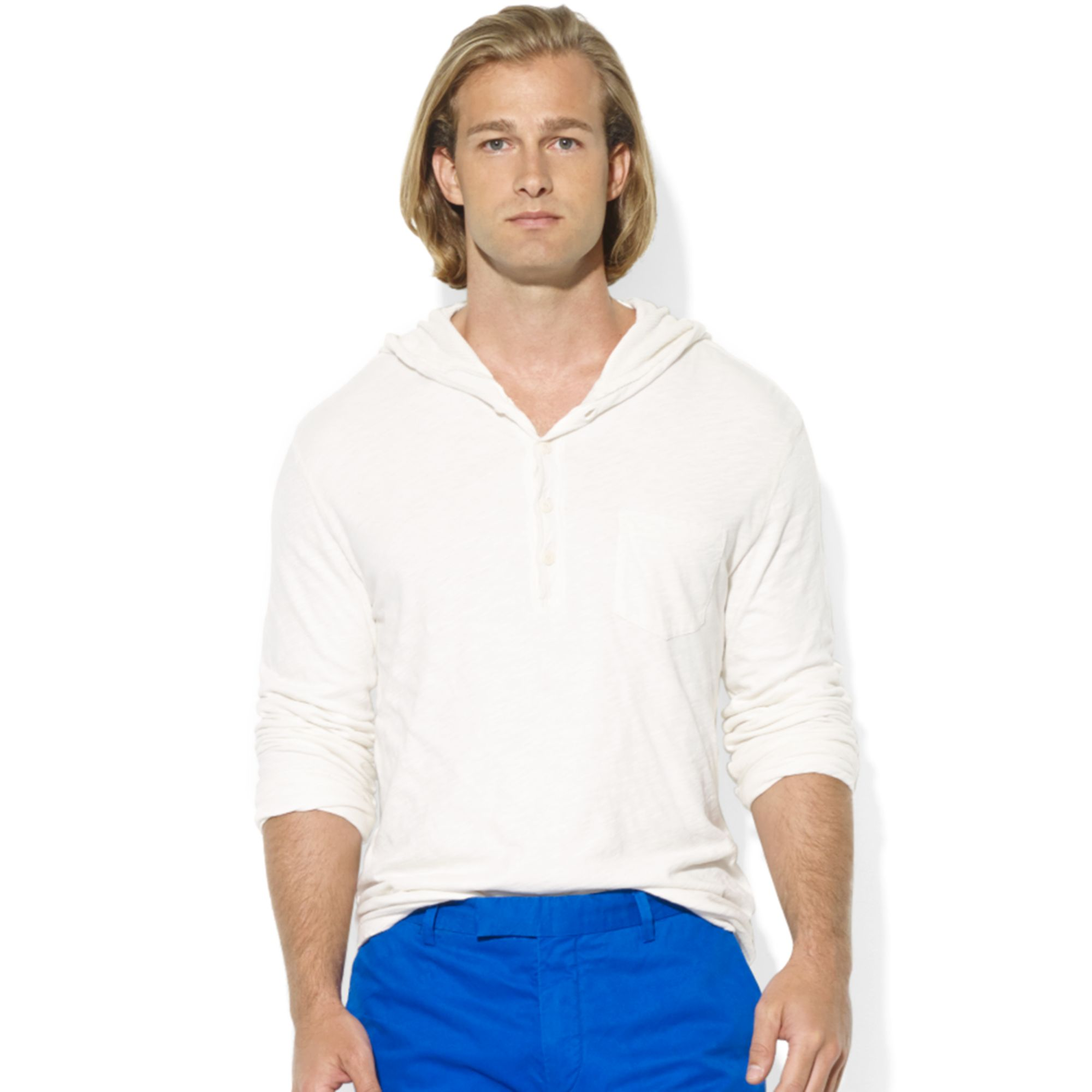 ralph lauren polo slub jersey pullover hoodie in white for. Black Bedroom Furniture Sets. Home Design Ideas