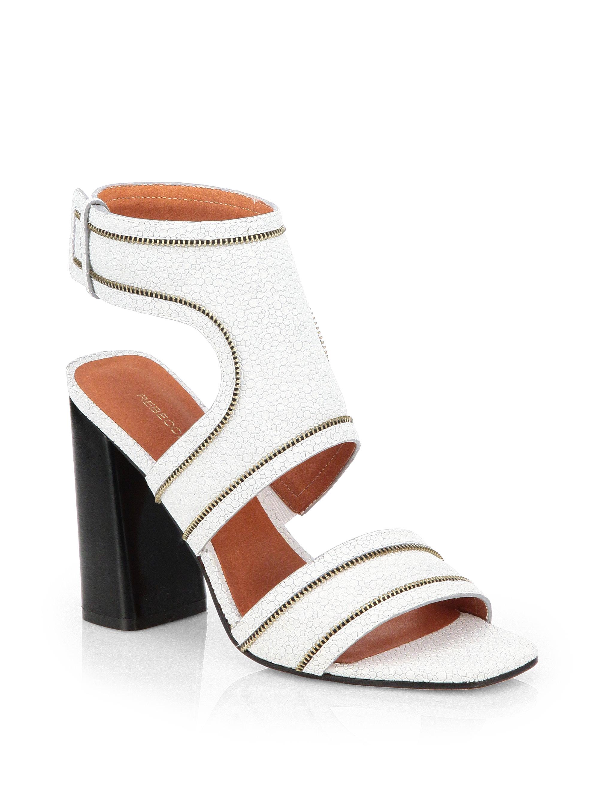 2ed0b314b8e Rebecca Minkoff Parker Zippertrimmed Leather Sandals in White - Lyst