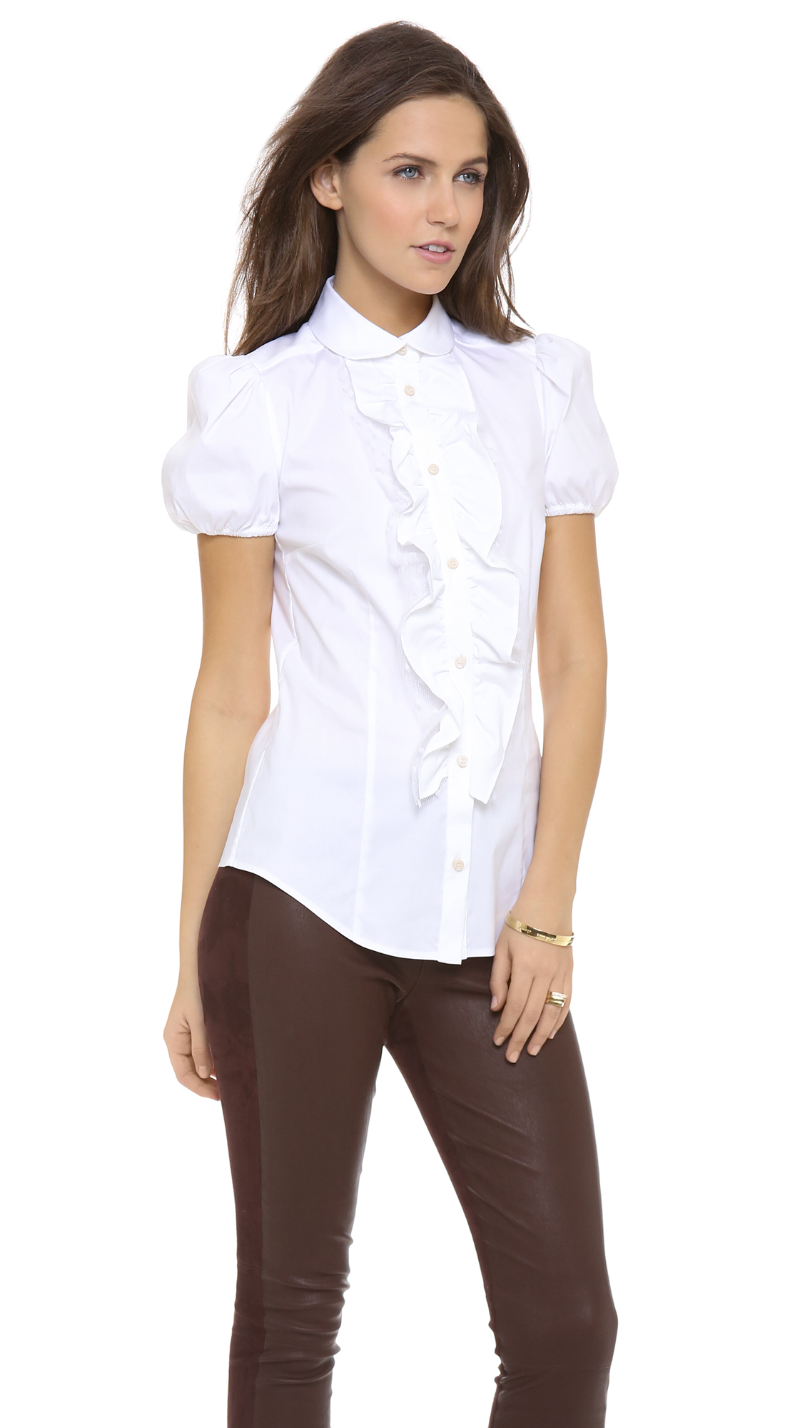 Red valentino Poplin Short Sleeve Ruffle Blouse in White | Lyst