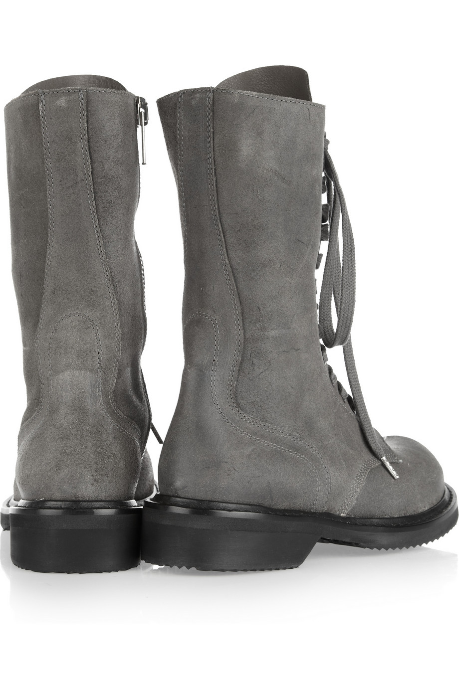 Lyst Rick Owens Distressed Leather Combat Boots In Gray