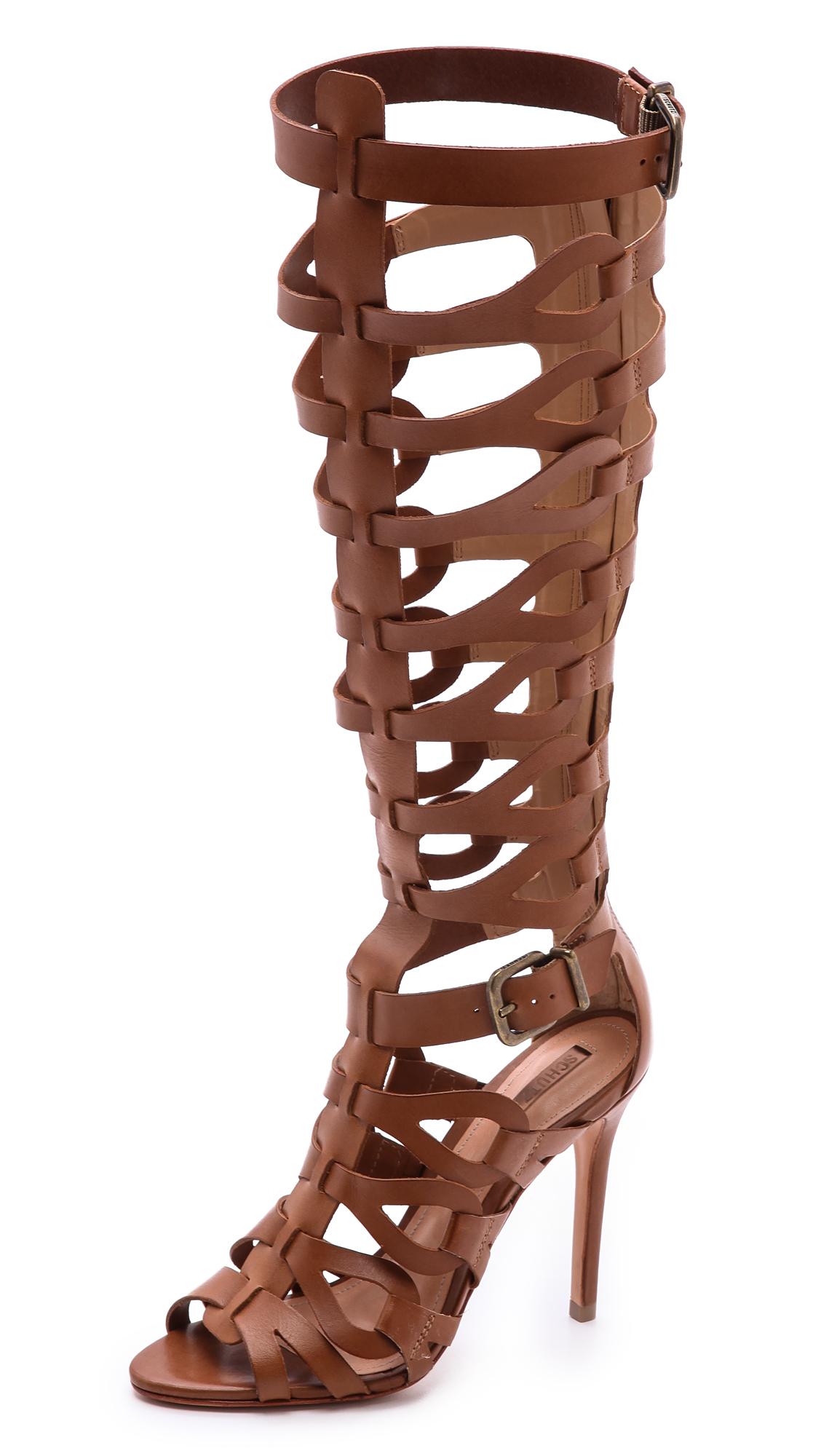 Lyst Schutz Eirini Cutout Tall Gladiator Sandals In Brown
