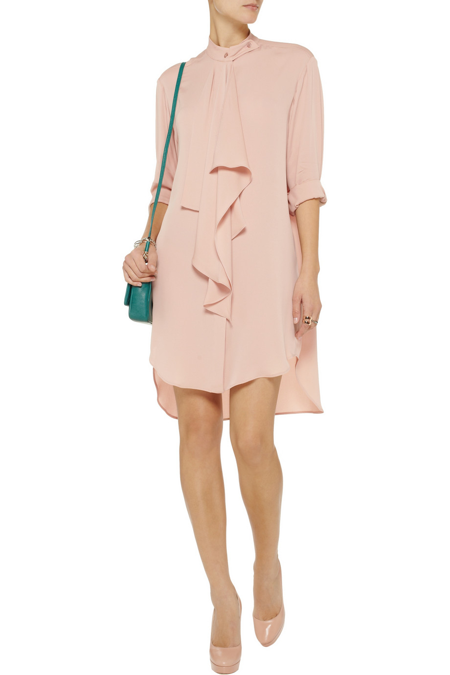 lyst stella mccartney mariana silk shirt dress in pink