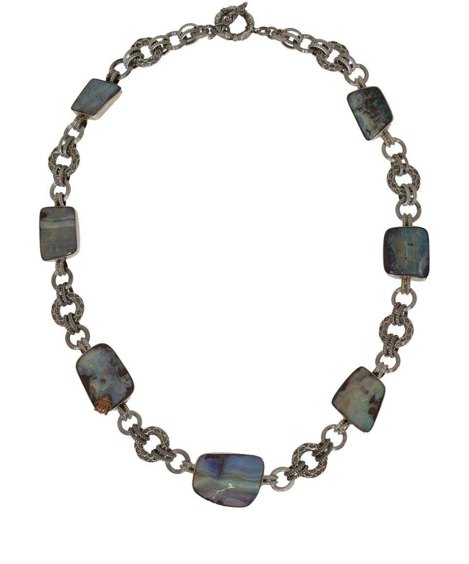 Stephen dweck silver boulder opal necklace in silver lyst for Jewelry stores boulder co