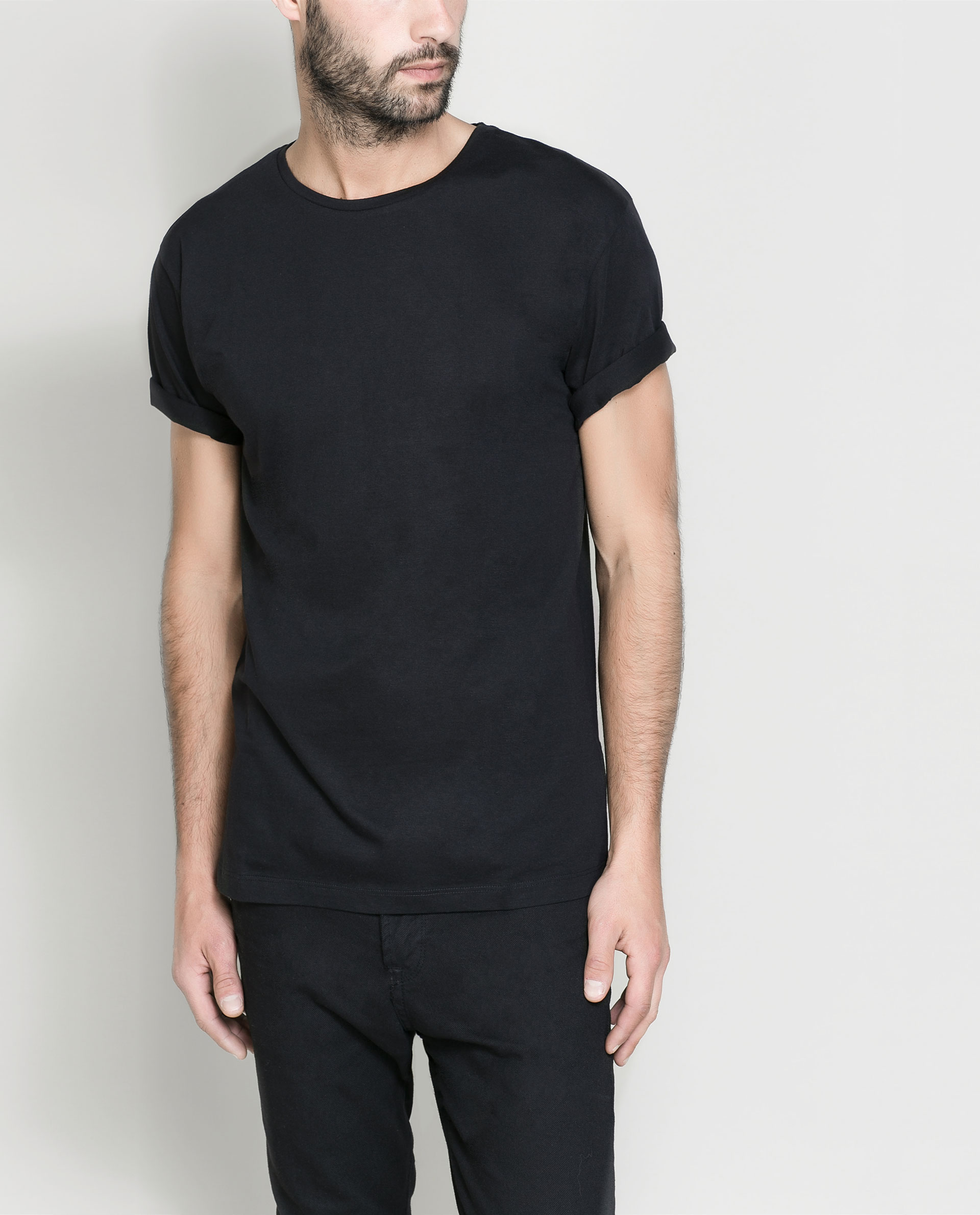 Zara Basic Tshirt in Black for Men | Lyst