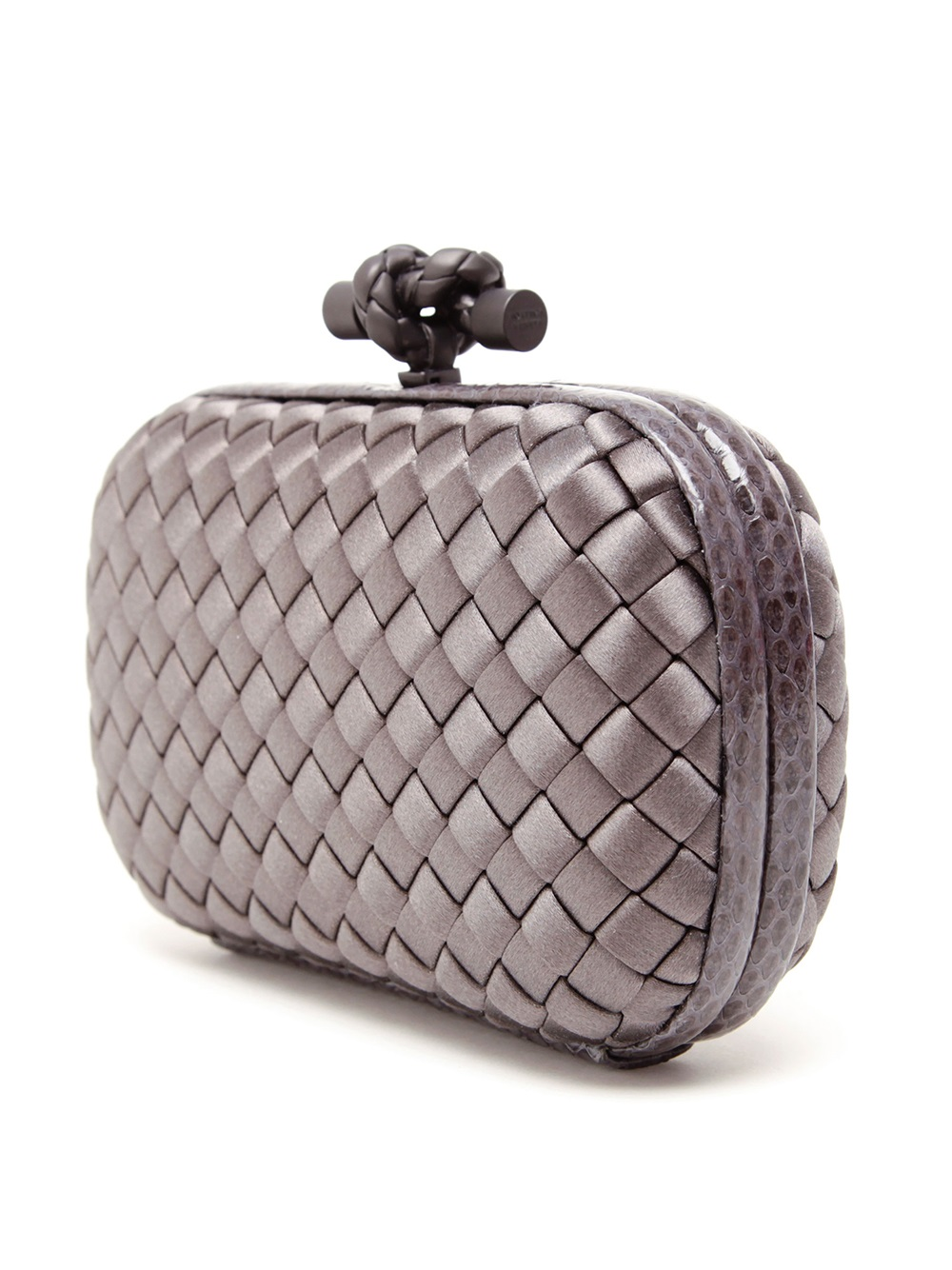 bottega veneta intrecciato woven satin box clutch in gray grey lyst. Black Bedroom Furniture Sets. Home Design Ideas