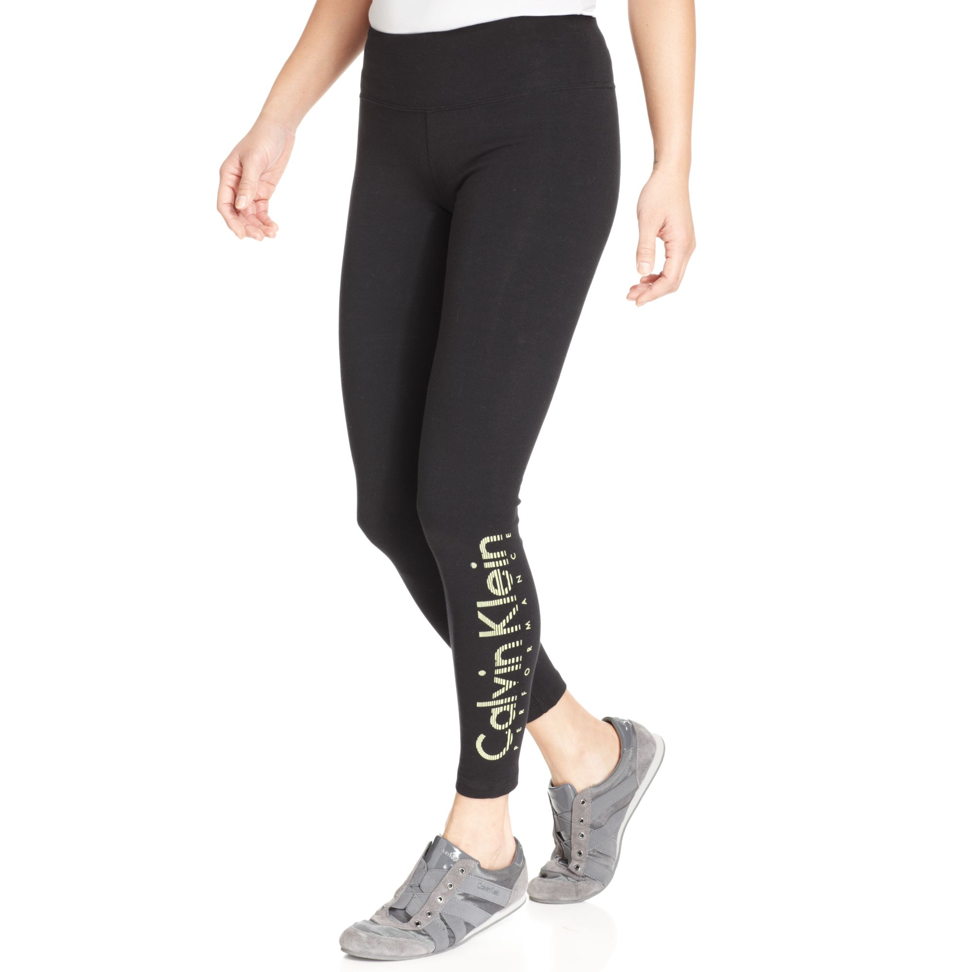 4b04765a6f8 Lyst - Calvin Klein Quickdry Logo Leggings in Black