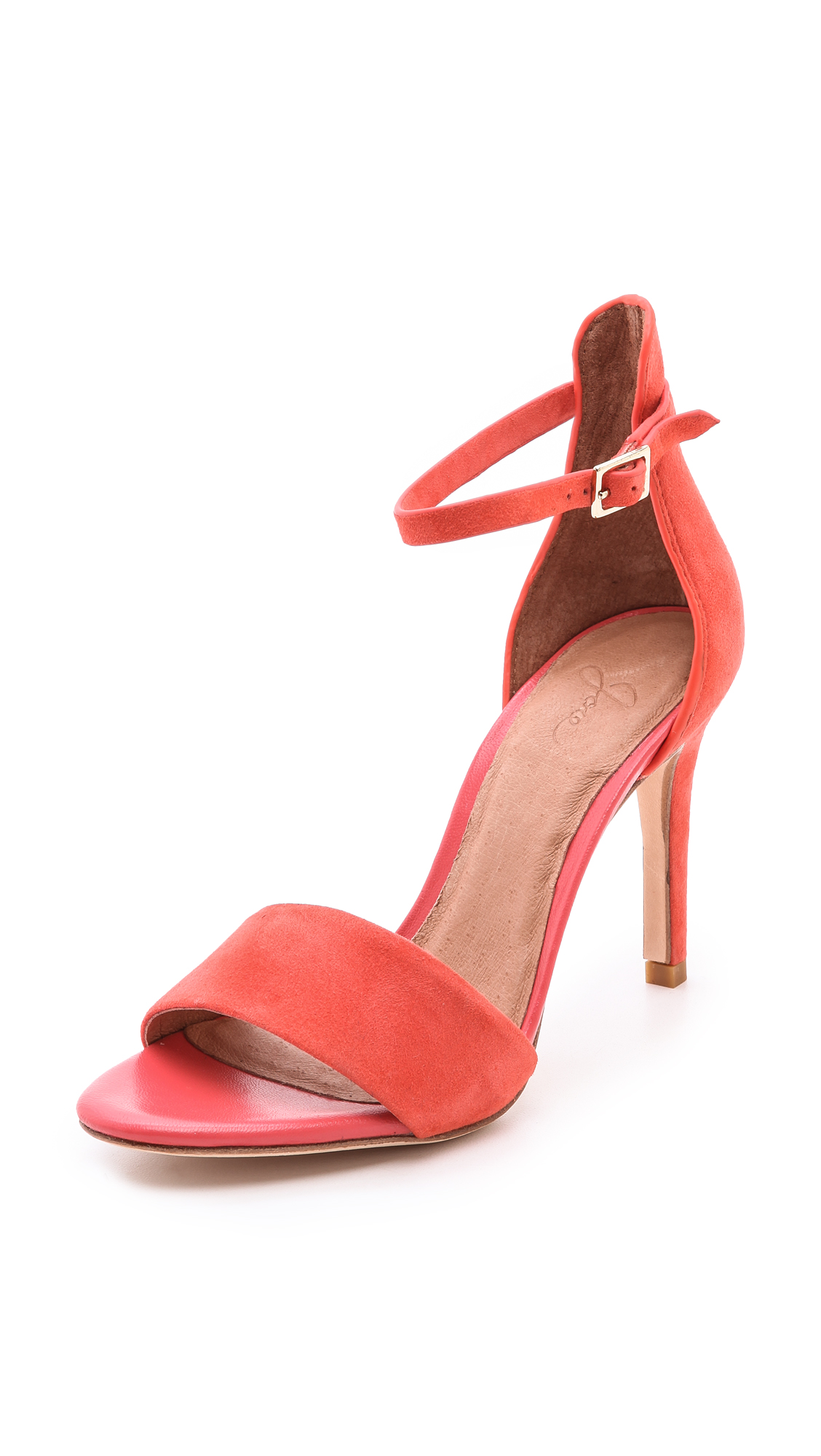 Joie Jaclyn Suede Sandals In Orange Coral Lyst