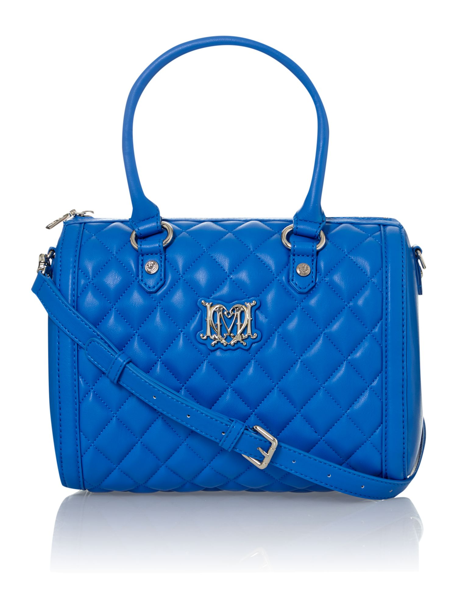 love moschino blue medium quilted bowling bag in blue lyst. Black Bedroom Furniture Sets. Home Design Ideas