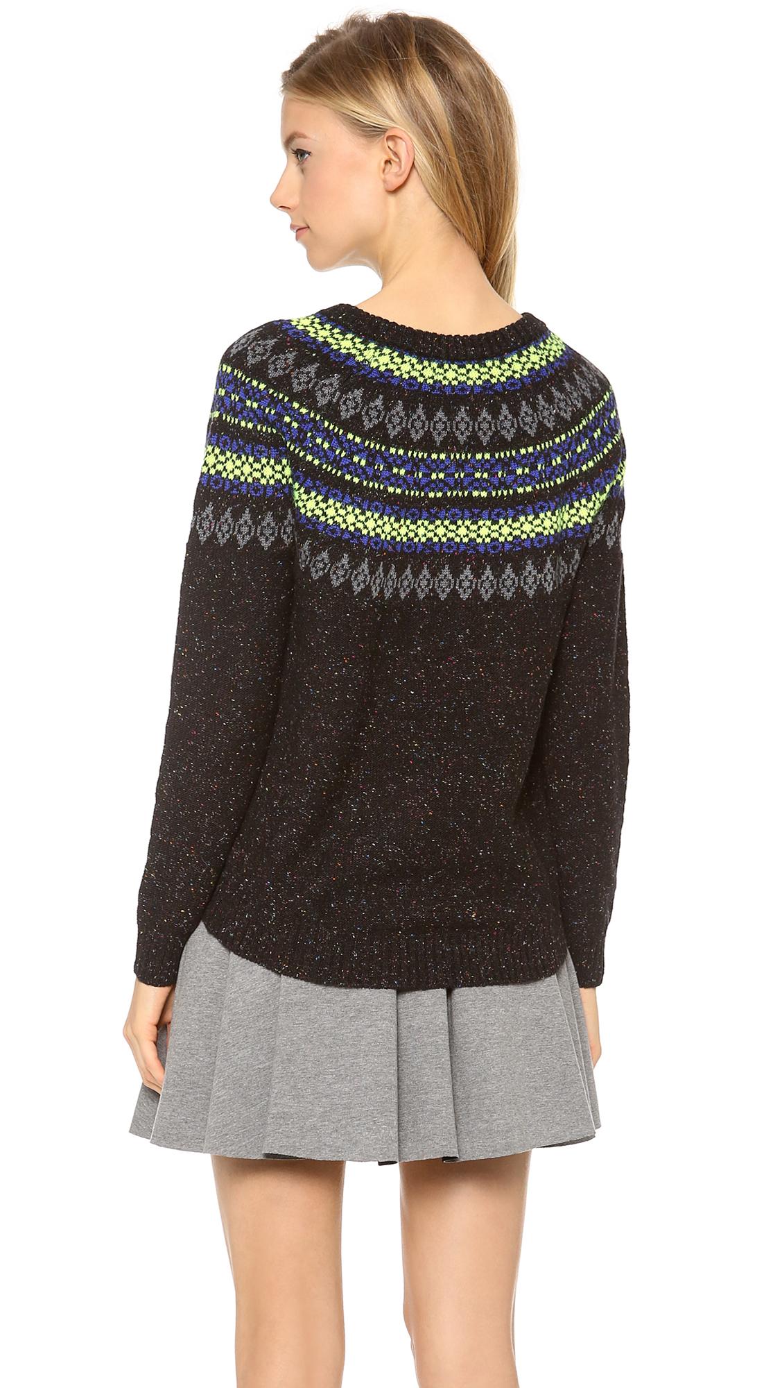 neon fair isle sweater coat nj. Black Bedroom Furniture Sets. Home Design Ideas