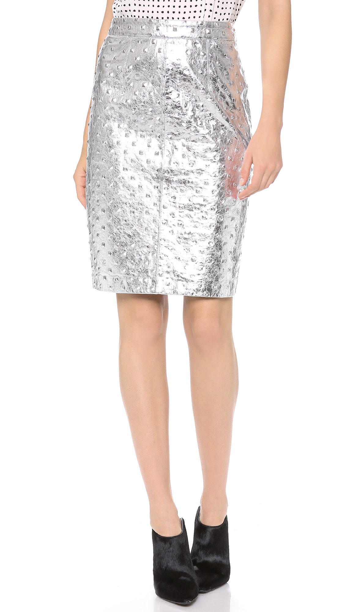 milly edith leather pencil skirt in metallic lyst