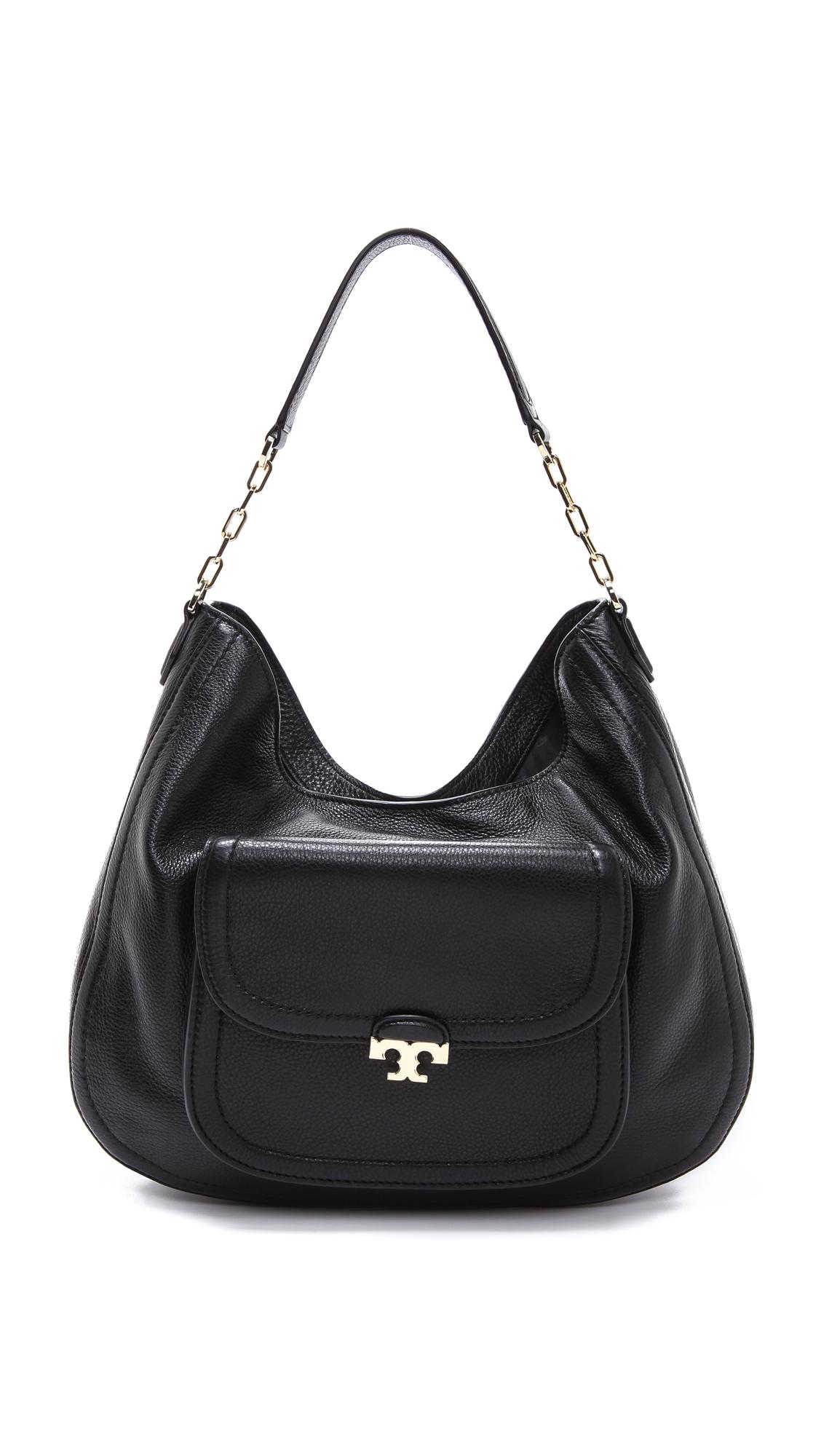 4e30b82a283f Lyst - Tory Burch Sammy Hobo Bag in Black