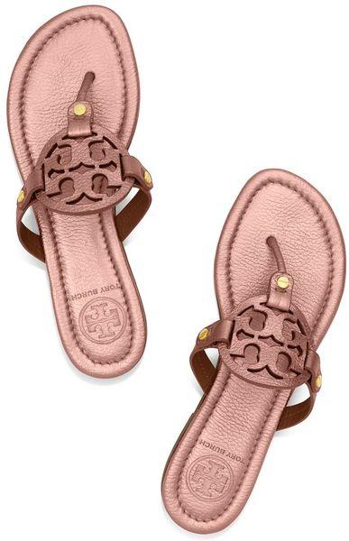 Tory Burch Miller Metallic Sandal In Pink Rose Gold Lyst
