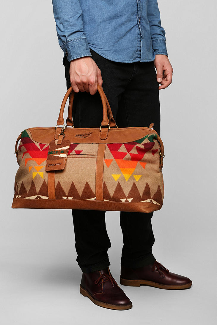 Lyst - Urban Outfitters Pendleton Leather Weekender Bag in Brown for Men f150562697