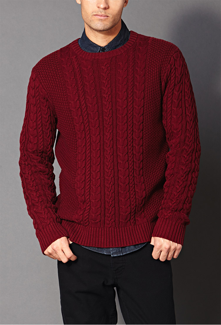 Forever 21 Chunky Cable Knit Sweater in Red for Men | Lyst