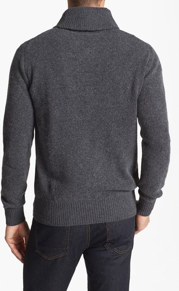 Ben Sherman Shawl Collar Cable Knit Sweater In Gray For