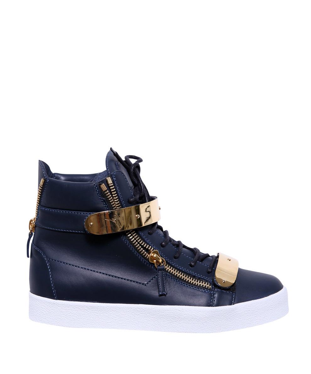 Giuseppe Zanotti Hightop Sneakers Pelle In Blue For Men