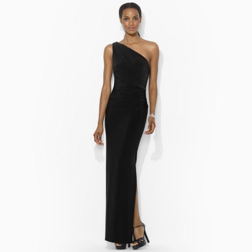 Lyst Lauren By Ralph Lauren Shirred Oneshoulder Dress In Black